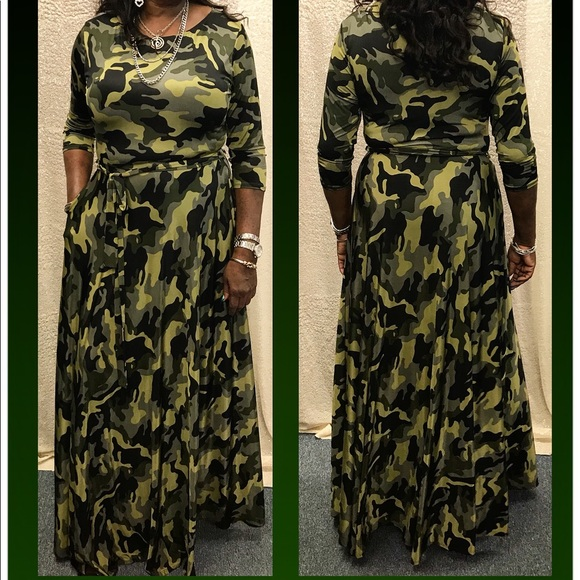 Plus Size Camouflage Dress